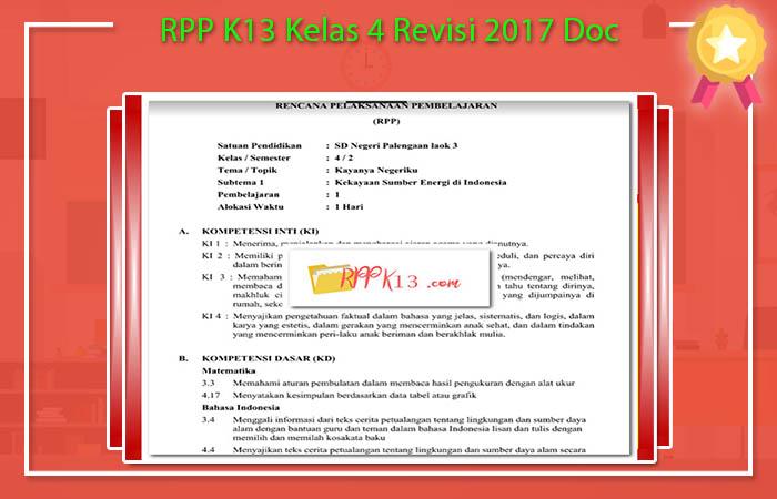 RPP K13 Kelas 4 Revisi 2017 Doc