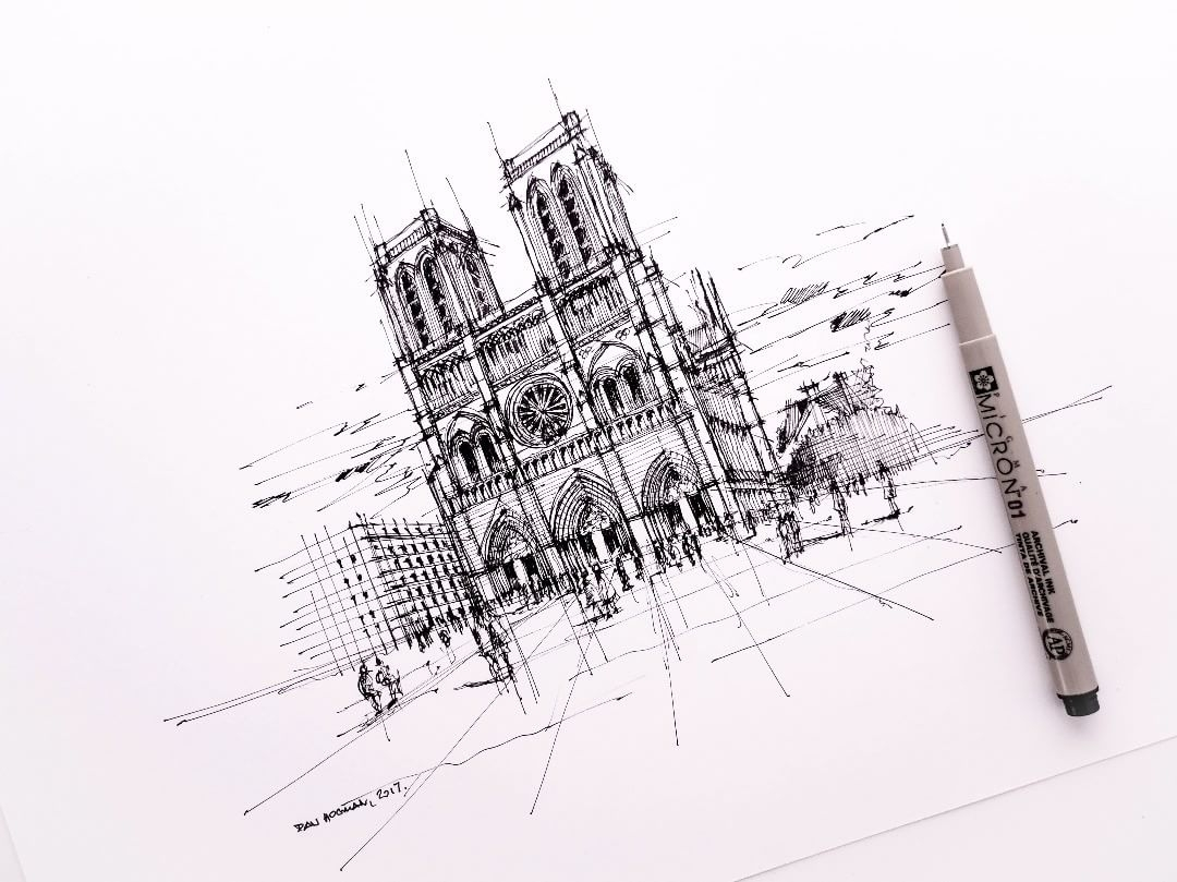 06-Notre-Dame-Dan-Hogman-Urban-Sketches-of-Paris-in-France-www-designstack-co