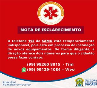 SAMU/BACABAL - NOTA DE ESCLARECIMENTO