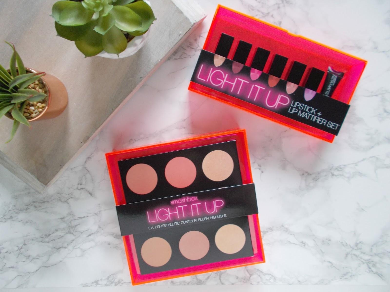 Smashbox Light it Up LA Lights Blush Mega palette lipstick and mattifier set review