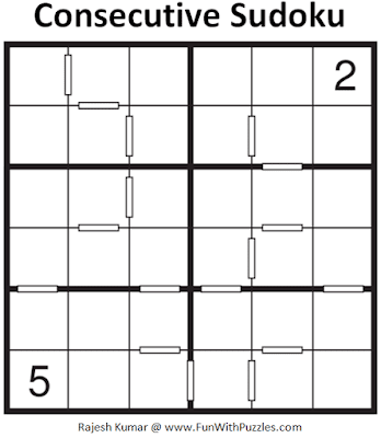 Consecutive Sudoku Puzzle (Sudoku for Kids #2)