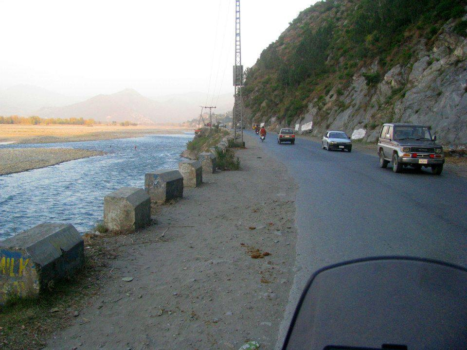 Swat Valley Road and Swat River near Mingora.Swat Pakistan