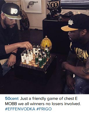 50 Cent Is Crazy - He's Pictured Playing Chess With Bottles Of Effen Vodka