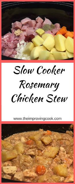 Slow Cooker Rosemary Chicken Stew pinnable image