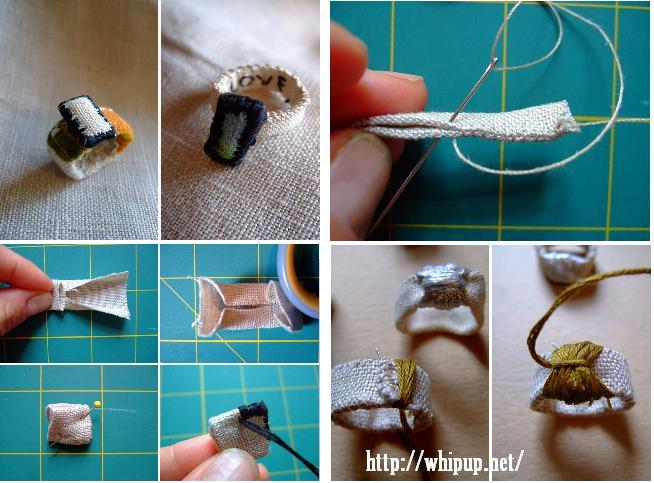 anillos, sortijas, tela, bisutería, costura