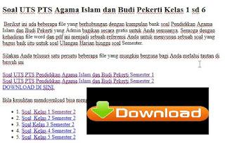Soal UTS PTS SD Agama Islam dan Budi Pekerti