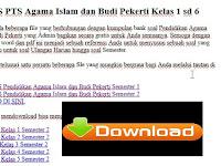 Soal UTS PTS SD Agama Islam dan Budi Pekerti Kelas 1 sd 6