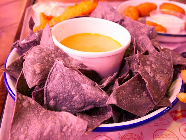 blue corn tortillas and cheese dip at MEATLiquor, Brighton