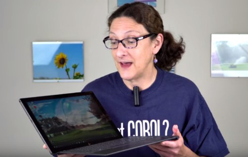 Lisa Gade Holding THe HP Spectre x2
