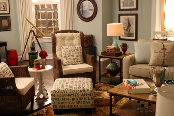 remodelaholic casual beach themed living room design for shaw flooring. Black Bedroom Furniture Sets. Home Design Ideas