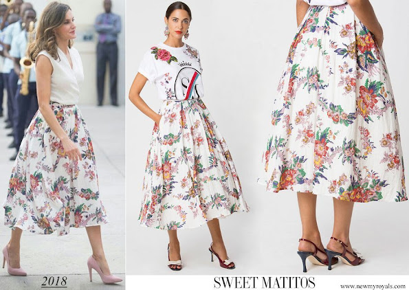 Queen Letizia wore Sweet Matitos Girasol cotton blend skirt