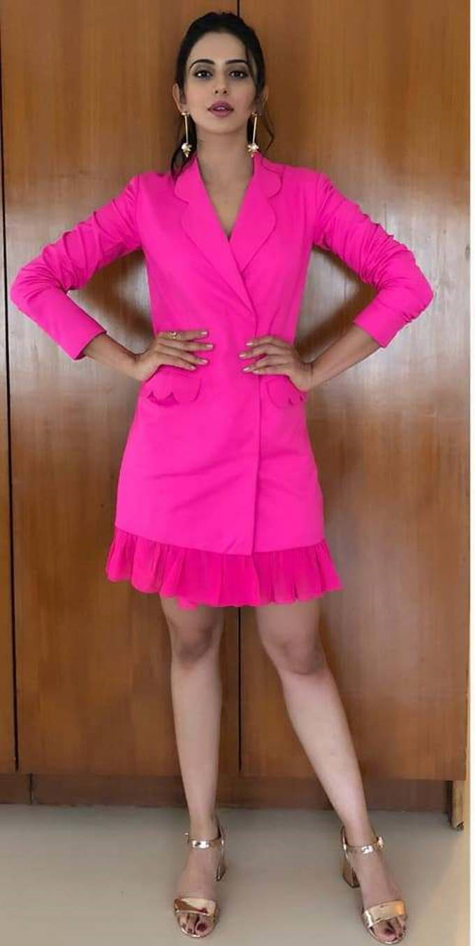 Rakul Preet Singh Latest Hot Long Legs Photo Shoot In Pink Dress