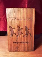 Wooden award inscribed run-forest-run 2018 Mega-Marshal