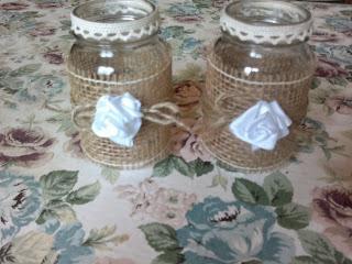 L 39 angolo di flo vasetti di vetro decorati glass jars - Porta dischetti struccanti ...