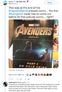 Avengers 4 Trailer coming before 5 December and here's proof