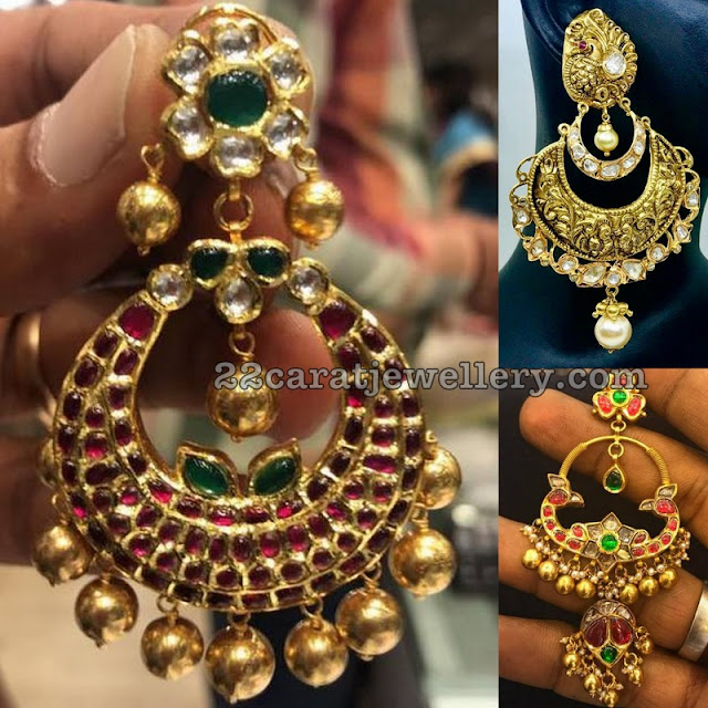 Heavy Chandbalis with Nakshi work and Rubies