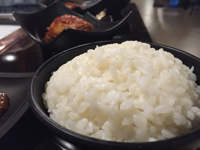 Steamed rice and kimchi