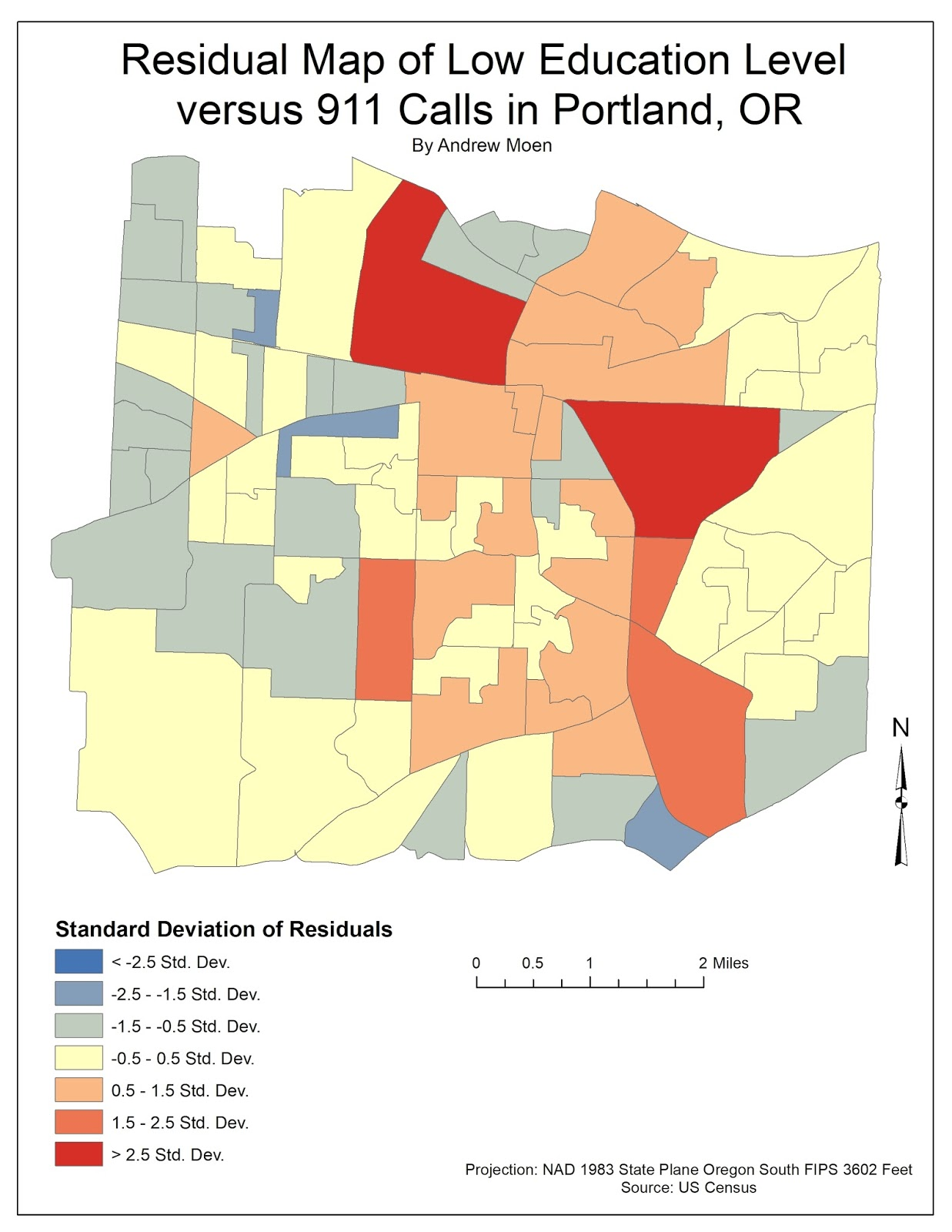 figure 10 residual map of low education levels versus number of 911 calls