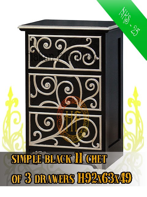 Simple Black II Chest of 3 Drawers H92x63x49