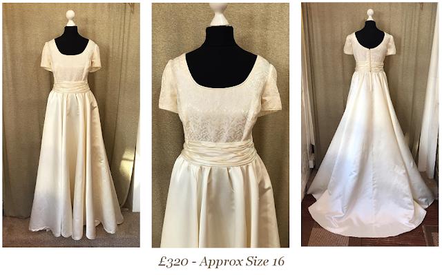 short sleeve vintage wedding dress size 16/18  available from vintage lane bridal boutique bolton manchester