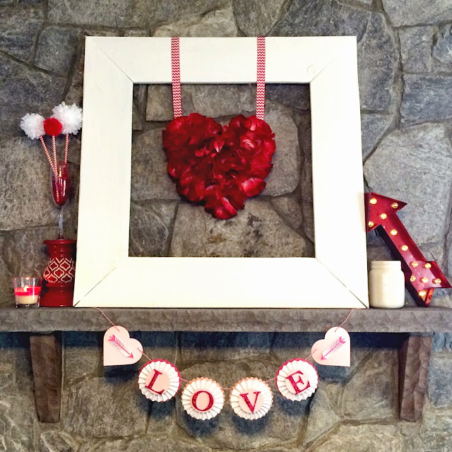 DIY Frame & Valentine Mantle Decor