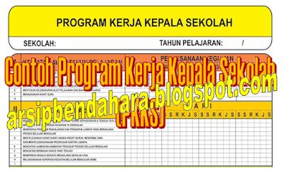 Download File Contoh Program Kerja Kepala Sekolah (PKKS) Format Excel - Arsip Bendahara