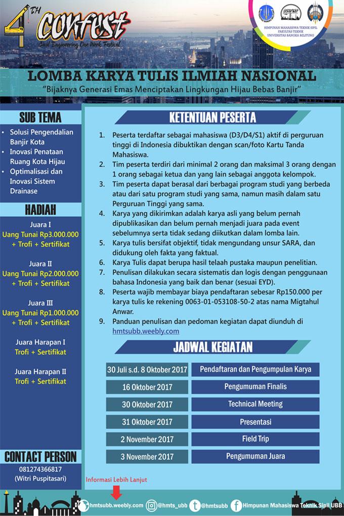 Lomba Karya Tulis Ilmiah Nasional 4th Confest | Univ. Bangka Belitung | Mahasiswa