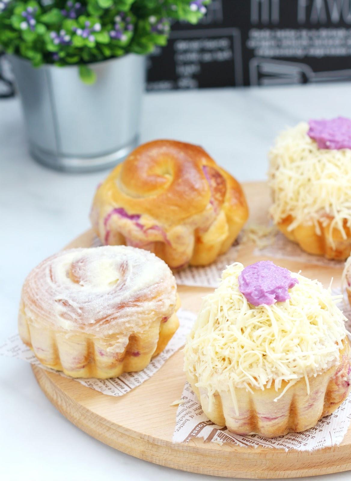 my bare cupboard: Ube ensaymada / Filipino-style bread rolls