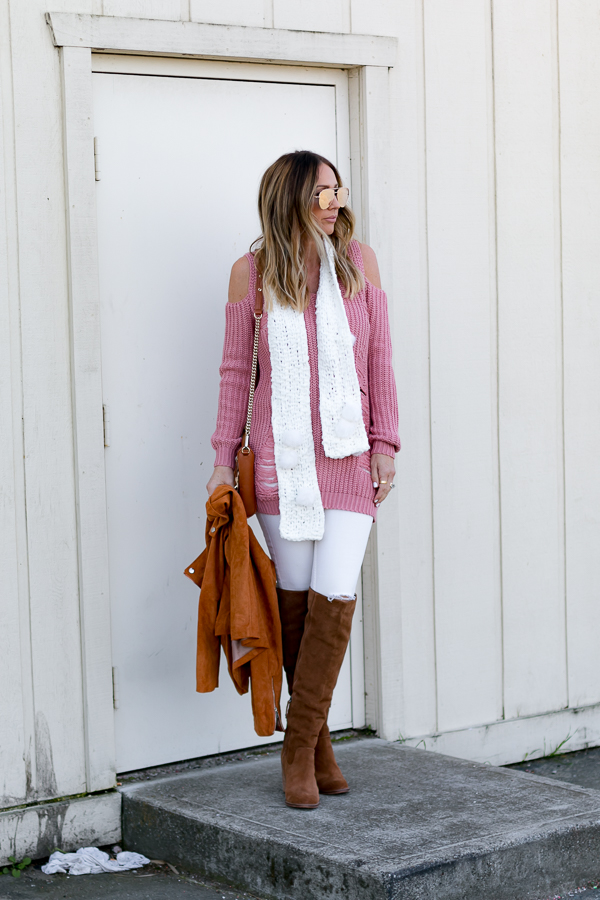 pink sweater dress white ripped jeans cognac over the knee boots moto jacket