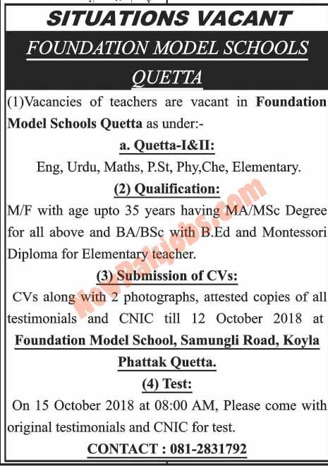 Foundation Model Schools Quetta Required Teachers