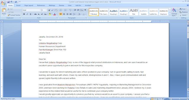 contoh surat lamaran pekerjaan versi 1