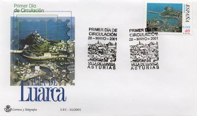 Sobre PDC del sello de Luarca con matasellos de la localidad