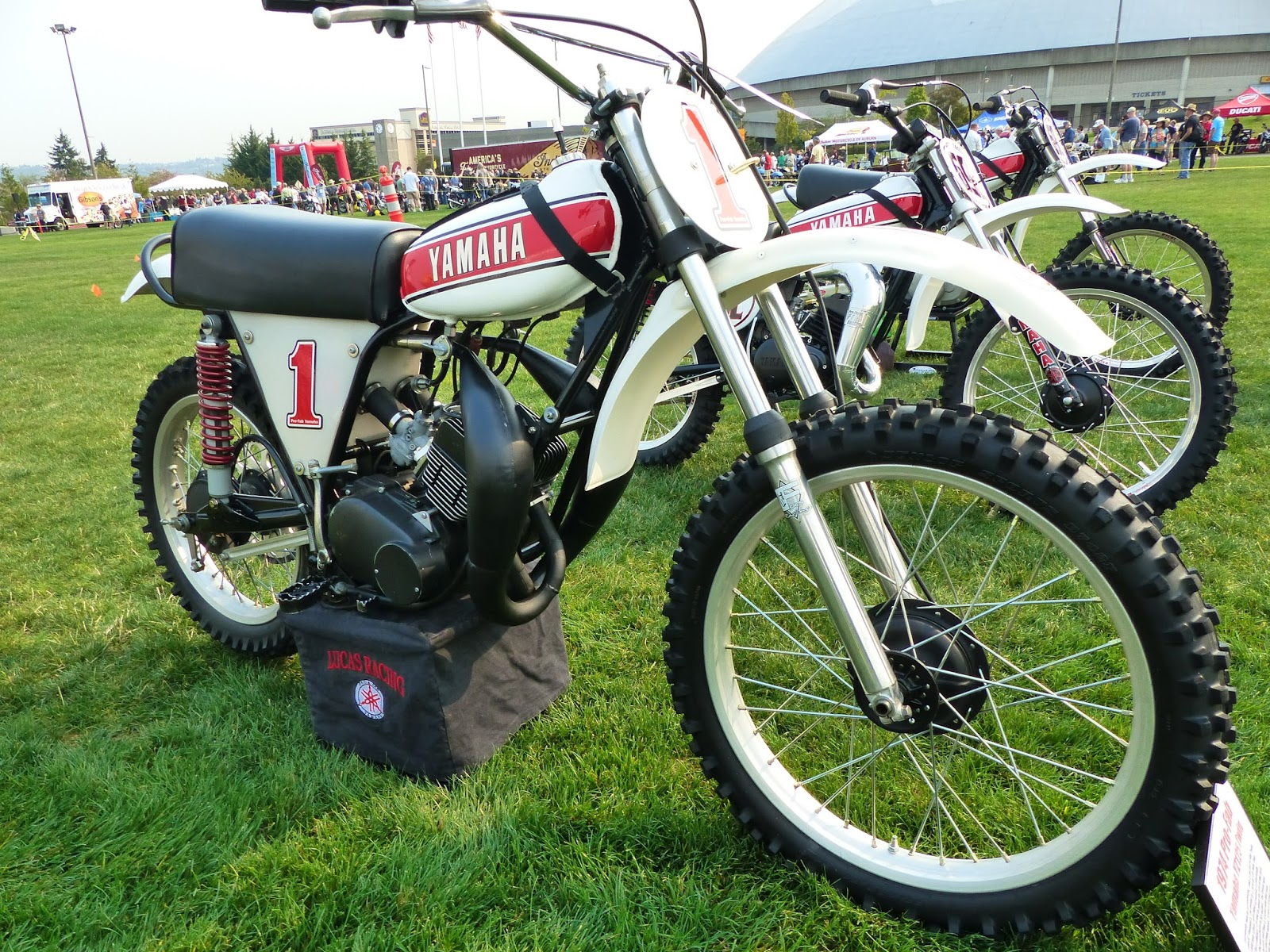 oldmotodude 1974 pro fab framed yamaha yz125 twin yes twin on display at the meet 2015. Black Bedroom Furniture Sets. Home Design Ideas