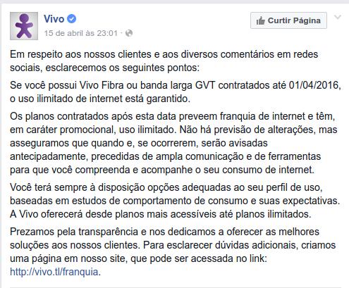 Declaração da vivo no Facebook