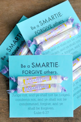 Girls Camp Treat Handout - forgive others, smarties