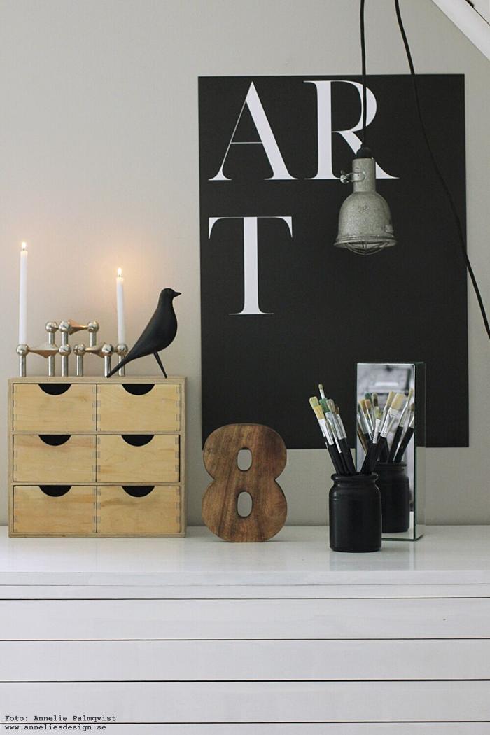 anneliesdesign, webbutik, webbutiker, fågel, fåglar, siffra, art, tavla, tavlor, poster, posters, print, svart och vitt, svartvit, svartvita, tavelvägg, ateljé, inredning, arbetsrum, arbetsrummet, nagel, ljusstake, ljusstakar