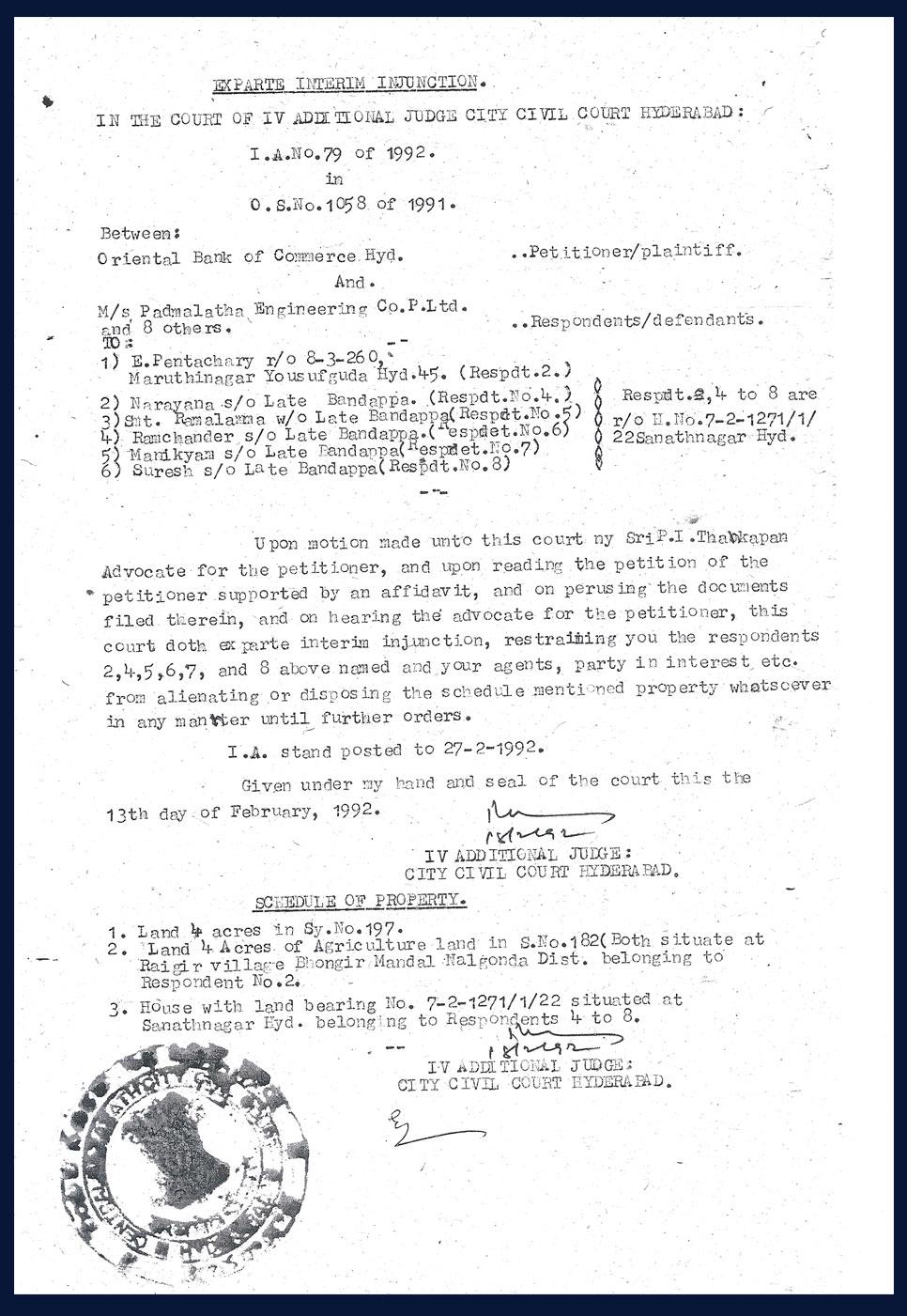 Exparte Interim Injunction-13-2-1992