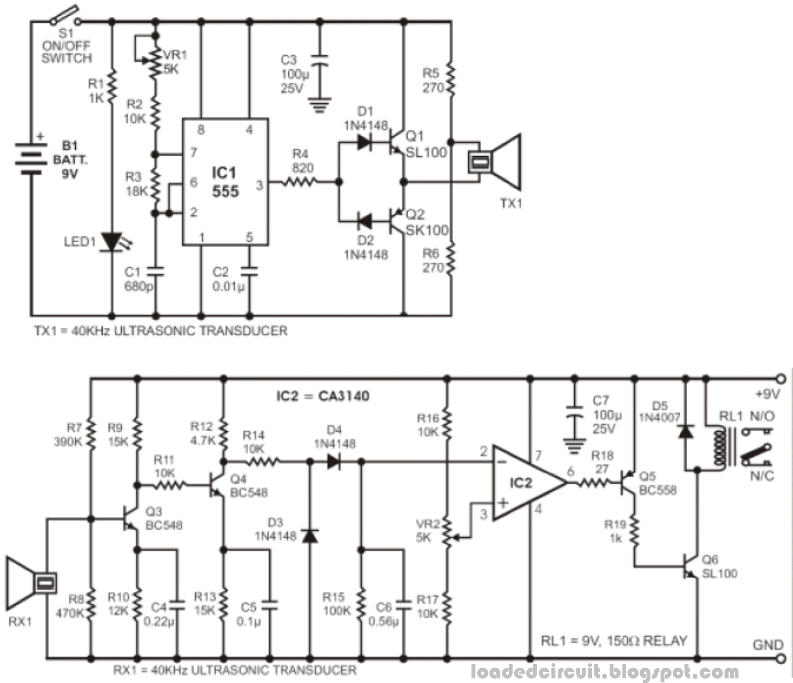 Ultrasonic Wave Receiver Circuit Circuit Schematic Electronics