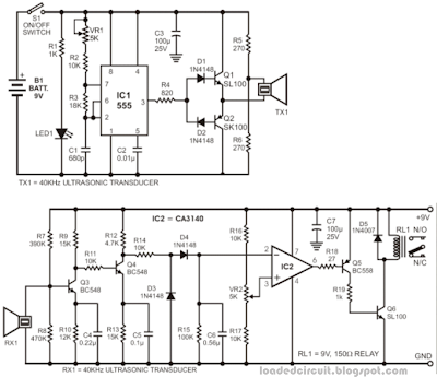 ultrasonic transmitter and receiver circuit led