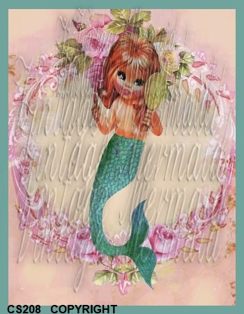 shabby chic mermaid in pink frame