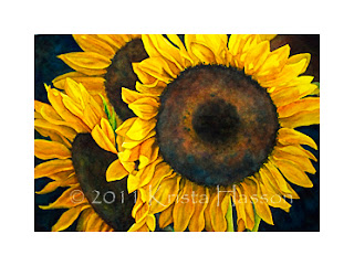 Sunflowers full Sheet Watercolor Painting Finished!