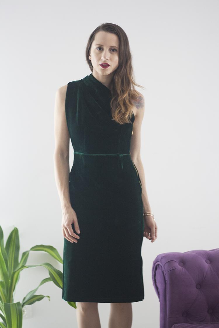 Skinny Buddha green velvet dress