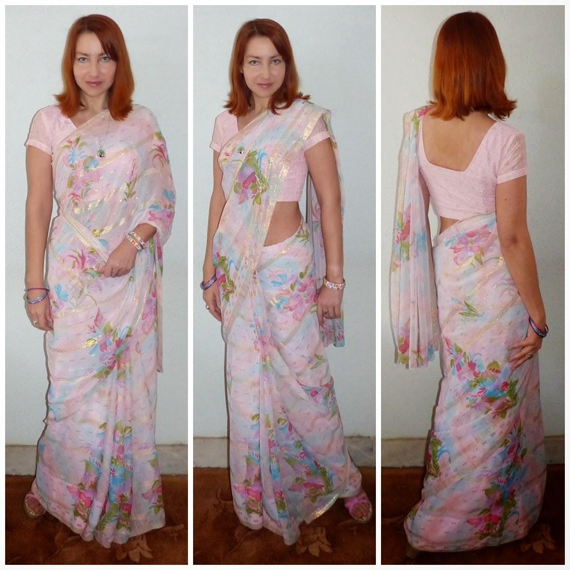 Pastel floral sari