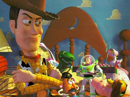 Woody in Toy Story giving evil look Toy Story 1995 animatedfilmreviews.filminspector.com