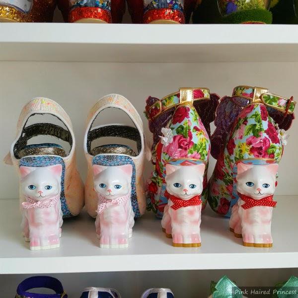 old pair of cat heels sitting next to new cat heels on shelf