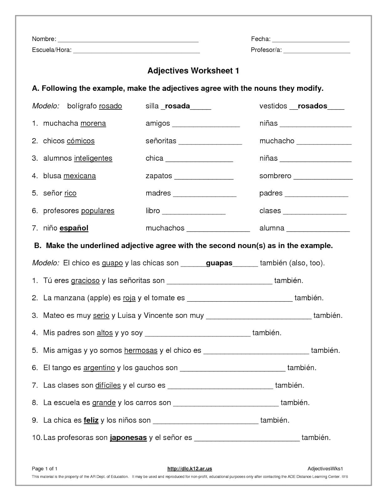 Spanish Adjective Worksheets