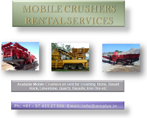 Mobile Jaw Crusher on Rent, Mobile Cone Crusher on Rent, Mobile Impactor on Rent, Trawler Mounted Mobile Crusher, Track Mounted Mobile Crusher, Crushing Stone, Rocks, Aggregates, GSB