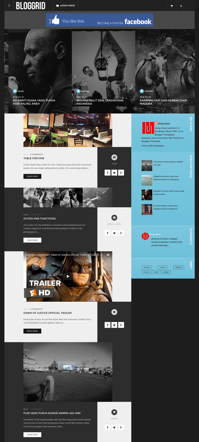 Bloggrid Responsive Blogger Template - UONG JOWO