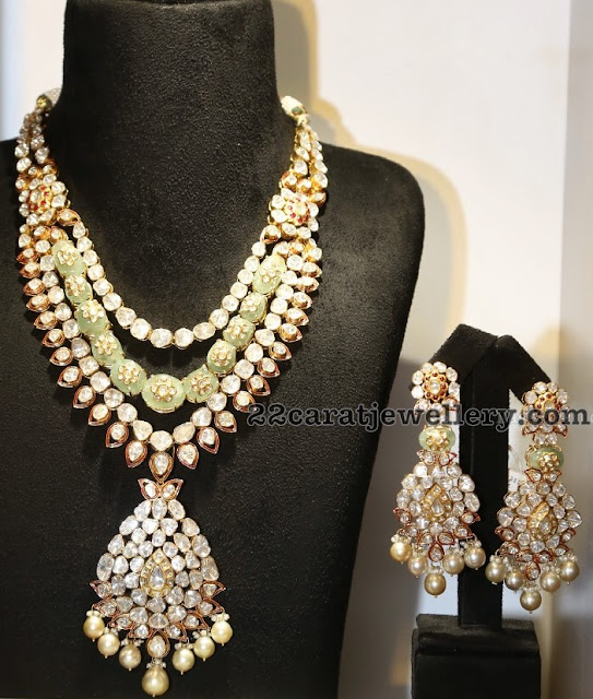 Kundan Long Chain with Green Garnets
