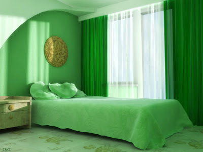 bedroom design green color - Green Color Bedroom